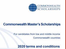 Commonwealth Master's Scholarships 2020